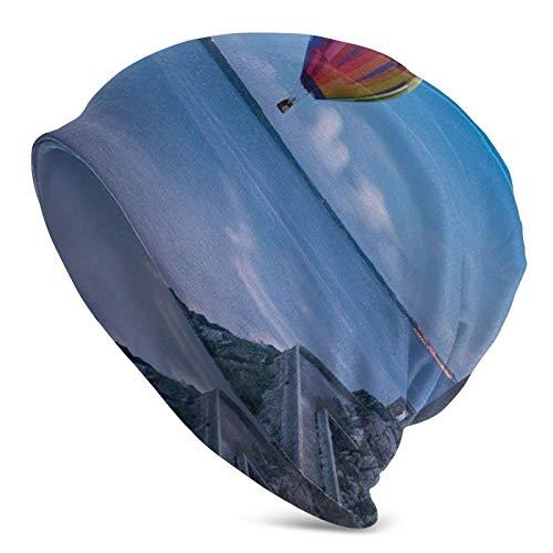 QUEMIN Baratos Faro Globo aerostático Faro Globo aerostático Gorra de Calavera Gorro elástico Gorros Holgados Sombreros de Moda de Punto de Invierno para Mujeres Hombres
