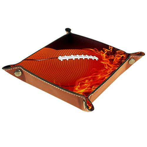 XiangHeFu Ledertablett,Schmucktablett Dekoplatte,American Football Feuer,Leder Tablett,Aufbewahrungstablett für Schmuck Schlüssel Armbanduhr Wohnzimmer Tisch Küche
