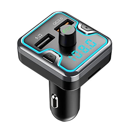 LONXAN Bluetooth FM Transmitter, Auto Radio Transmitter mit QC3.0 & 5V/2.4A USB Autoladegerät, Auto Bluetooth Adapter Freisprecheinrichtung, MP3 Musik Player Unterstützt TF Karte und USB-Stick