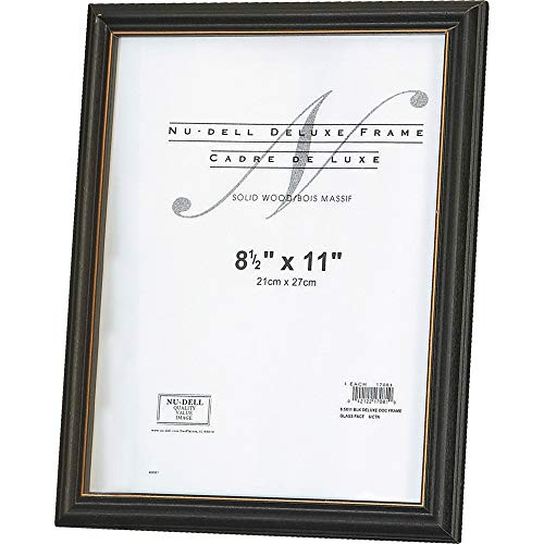 NuDell 17081 Deluxe Wood Document Frame, Plastic Face, 8-1/2 x 11, Black