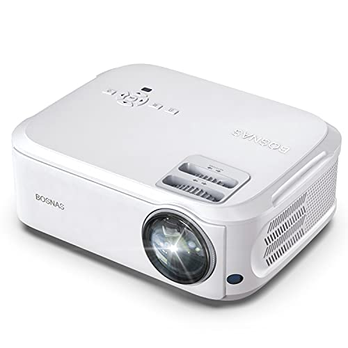 "Beamer, BOSNAS Beamer Full HD Native 1080p LED Beamer Heimkino 6800 lux Video-Beamer 300"" Display Zoomfunktion Unterstützt TV Stick, dual HDMI, Xbox, Laptop, Smartphone"