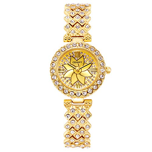 RORIOS Elegangt Damen Armbanduhr mit Strass Glitzer Dial Edelstahl Band Bling Diamant Damen Uhren Ladies Dress Watches