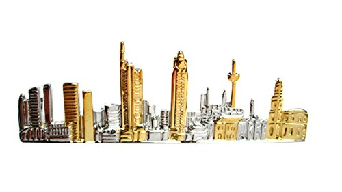 magdalena r. Frankfurt Krawattennadel Krawattenklammer Skyline d. Stadt Frankfurt a. Main Bicolor - teilvergoldet glänzend + Geschenkbox