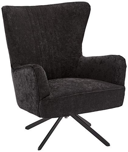 Ibbe Design Schwarz Bequem Ohrensessel Drehbar Lounge Sessel Skandinavisch Lesesessel Samtoptik Stoff Juno, Sitzhöhe 43 cm, 75x78x93 cm