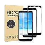 Annuus Panzerglas Schutzfolie für Samsung Galaxy A8 2018, [2 Stück] 2.5D Kanten, 9H Festigkeit Panzerglas Bildschirmschutzfolie, Anti-Kratzen, Anti-Fingerabdruck, Anti-Bläschenm, Schwarz