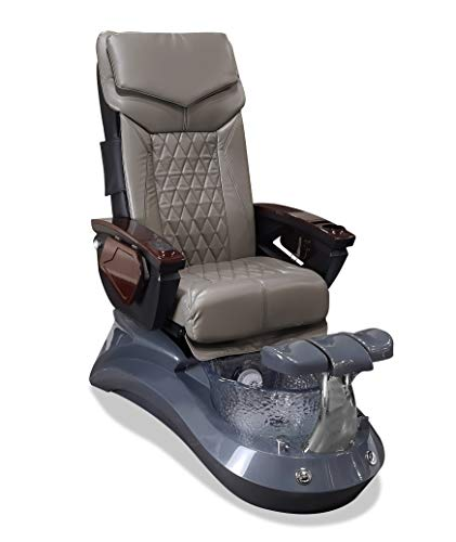 LOTUS II 18 LX Shiatsulogic Pedicure Chair Grey-Crystal w/Discharge Pump Stylish Pedicure Tub with Pipe-less Whirlpool System Perfect for All Pedicure Spa, Storm Grey
