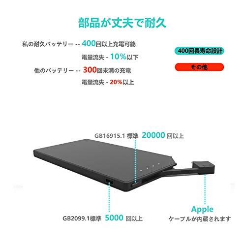 TNTORモバイルバッテリー軽量小型超薄6mm5000mAhケーブル内蔵iPhone対応専用スマホ充電器持ち運び便利地震/災害/旅行/出張用【PSE認証済】