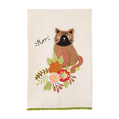 Purr Embroidered Towels
