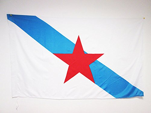 AZ FLAG Bandera de Galicia ESTRELEIRA 150x90cm para Palo - Bandera INDEPENDENTISTA GALLEGA - NACIONALISMO Gallego 90 x 150 cm