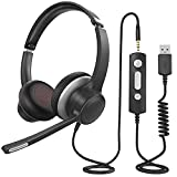 USB Headset with Microphone, Comfort-fit Office Computer Headphone, On-Ear 3.5mm Jack Call Center Headset for Cell Phone, 270 Degree Boom Mic, in-line Control with Mute for Skype, Webinar