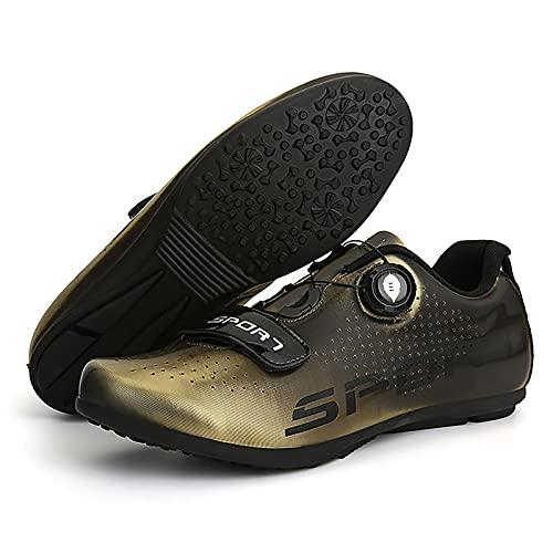 DSMGLRBGZ Zapatillas MTB, 36-47 Respirable Mantente Cómodo Todo El Día, para Niño Niña Hombre Mujer Zapatillas Bicicleta De Carretera,Azul,42