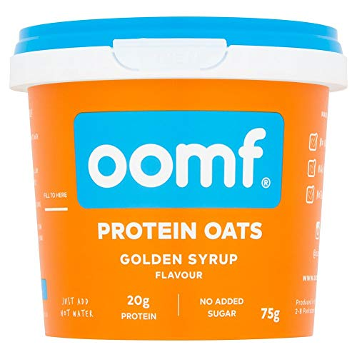 Oomf Whey Protein Porridge Instant Oats, 20 g Protein Per Pot, No Added Sugar, No Artificial Flavours or Ingredients, 75 g Per Pot, Golden Syrup Flavour, Pack of 8