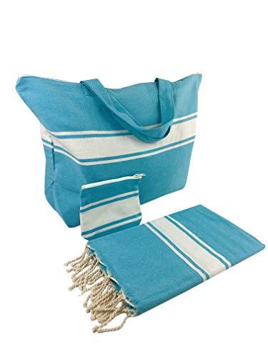 SOLTAKO Fouta - Juego de bolsa de playa, incluye toalla de playa y pequeño bolsillo, ideal como regalo, Unisex, turquesa