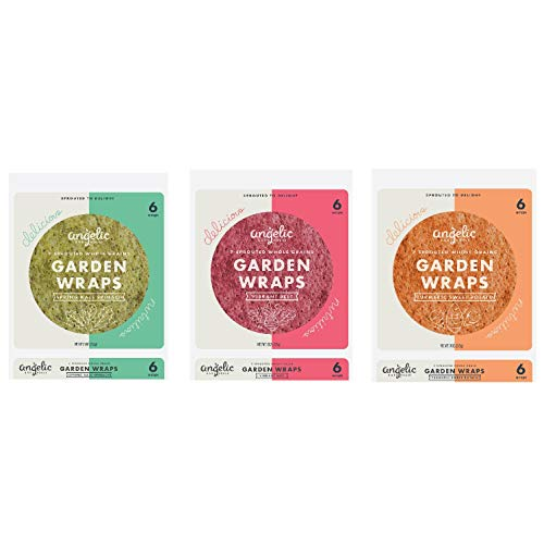 Angelic Bakehouse Garden Wraps, Vibrant Spring Spinach Sweet Potato, Sprouted Whole Grain Tortillas, Vegan Kosher and NonGMO 18 Wraps, Variety Pack (Kale, Beet, Turmeric), 9 Oz, 3 Count