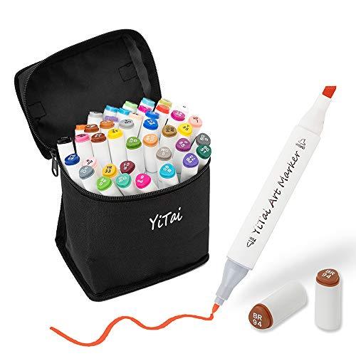 40 Colors Art Markers, Dual Tip Alcohol Marker, Permanent Art Markers for Kids, Highlighter Pen Sketch Markers for Drawing Sketching Adult Coloring, Alcohol-Based Markers, Bonus 1 Colorless Blender