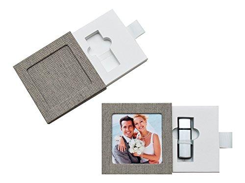 USB-Box/Schuber. Leinenstoff (Grau)