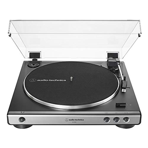Audio-Technica AT-LP60X-GM Fully Automatic Belt-Drive Stereo Turntable, Gunmetal/Black, Hi-Fi, 2 Speed, Dust Cover, Anti-Resonance, Die-Cast Aluminum Platter