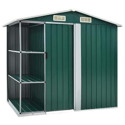vidaXL 7x5 Metal Shed with Side Store Shelves