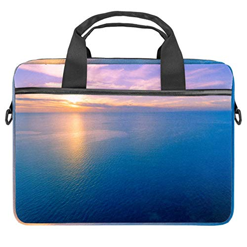 Blue Ocean Sunset Laptop Bag Briefcase Shoulder Messenger Bag Water Repellent Laptop Bag Satchel Tablet Bussiness Carrying Handbag Laptop Sleeve for Women and Men