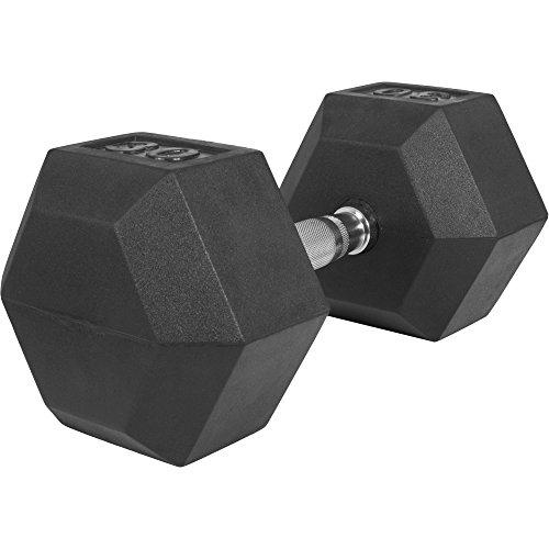 GORILLA SPORTS Hexagon Gummi Studio Hantel 2-50 KG | Gummi Beschichtung | Chrom Griff Farbe 30 KG - TÜVRheinland Zertifiziert