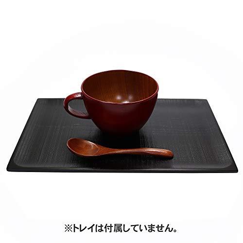 大阪長生堂 木製 スープカップ 朱 スプーン付 山中塗 横幅14.6cm 木製箸特典付き