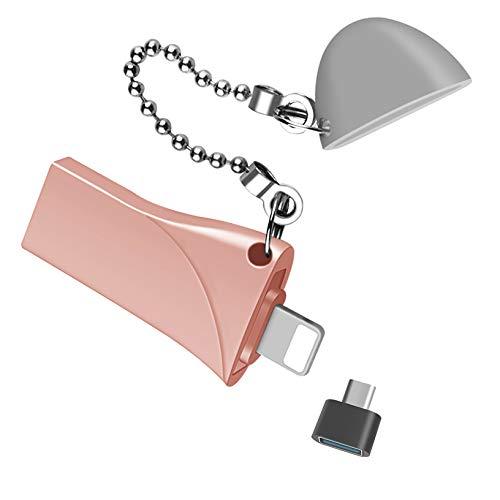 Chiavetta USB USB 3.0 Memory Stick con tappo per PC, laptop, tablet, Mac, pen drive compatibile con iPhone 12 11 Pro X MAX iPhone 6/7/8 Plus con Touch ID (256 GB, rosa)