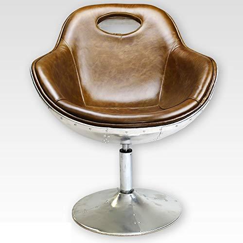Phoenixarts Vintage Echtleder Schalensessel Design Ledersessel Alu genietet Retro Drehsessel Lounge Sessel Braun - Industrie Design 703