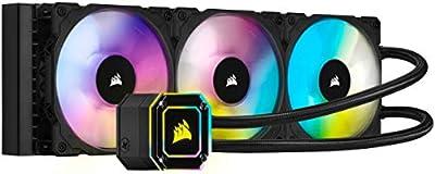 Corsair iCUE H150i ELITE CAPELLIX Liquid CPU Cooler (33 Ultra-Bright CAPELLIX RGB LEDs, Three 120mm ML RGB Series PWM Fans, 400 to 2,400 RPM, Zero RPM Mode, Corsair iCUE Commander CORE Included) Black