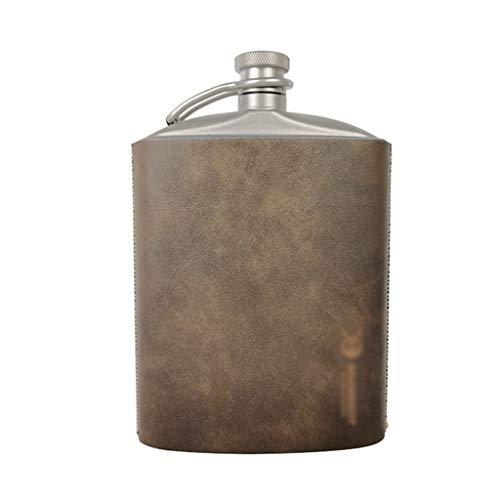 Reintitan Hip Flask, Whisky-Liebhaber-Taschen-Alkohol-Trinken Flasche mit Trichter und Anti-Rutsch-Verschleißfeste Schutzhülle, (Size : 9oz)