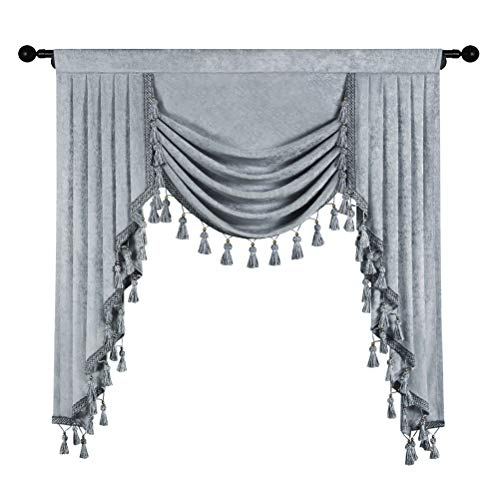 Thick Chenille Window Curtains Valance for Living Room Silver Grey Waterfall Valance for Bedroom,Rod Pocket(W39inch, 1 Piece)