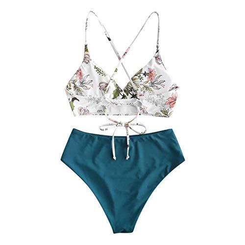 YANFANG Bikini de Traje de baño de Talla Grande Holgado con Estampado Floral de Dos Piezas para Mujer, M,Navy