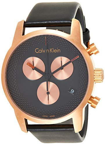 Calvin Klein Herren Chronograph Quarz Uhr mit Leder Armband K2G17TC1