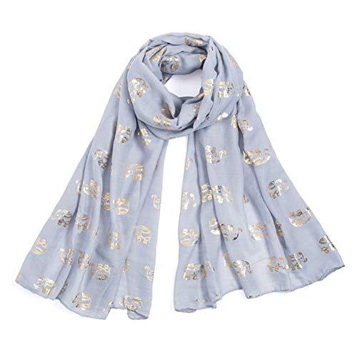 Damen Schal Elefant-Muster Schal Leichter Schal Wraps Unendlichkeit Fashion Herbst Winter Schals (Gray)