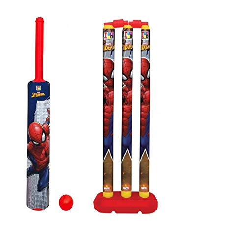 MANAKI ENTERPRISE Plastic Spiderman Cricket Kit Combo Set for Kids with 3 Stumps with Bat and Ball ( Multicolour)