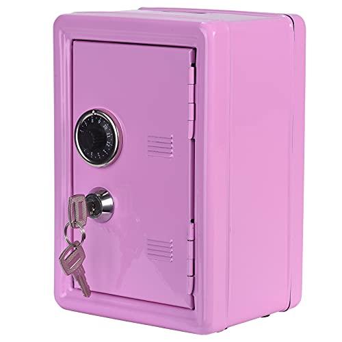 Caja Fuerte de Metal Caja de Ahorro de Dinero Caja de Ahorro Para Niños Tanque de Almacenamiento Para Niños Mini Caja Fuerte de Metal 2 Llaves (Pink)