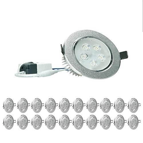 ECD Germany 20 Unidades foco LED empotrable 5W 230V 353 lúmenes blanco cálido 3000K - redondo - regulable - giratorio 30 ° - IP44 - plafón empotrable foco empotrable