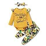 3PCS Newborn Baby Girls Clothes Infant Outfit,Romper Bodysuit Long Sleeve Jumpsuit T-Shirt Ruffled +Camouflage Long Pants+Headband Casual Set Fall Winter