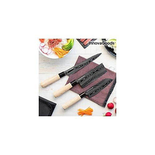 InnovaGoods IG814816 Set de couteaux japonais avec étui de transport Damas Q Acier inoxydable