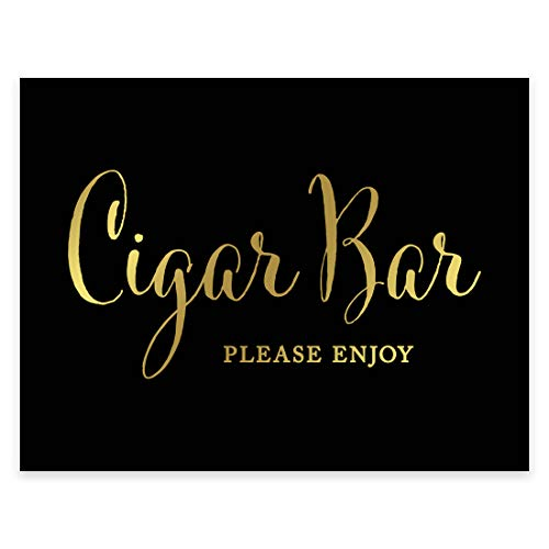Andaz Press Wedding Party Signs, Black and Metallic Gold Ink, 8.5x11-inch, Cigar Bar Please Enjoy Reception Dessert Table Sign, 1-Pack, Unframed