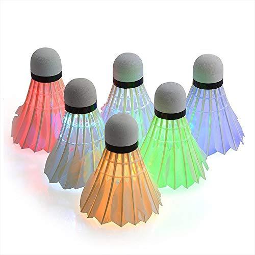 LED Volani da Badminton, 6 Pezzi Volani da Badminton, LED Luminoso Colori Badminton per Giocare a Badminton Durante la Notte
