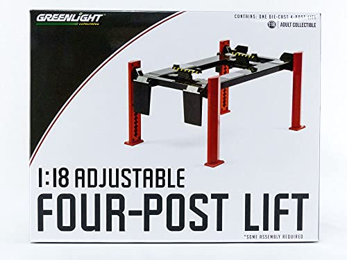 Greenlight 13592 Four-Post Lift - Red with Dark Gray Ramps 1/18 Scale...