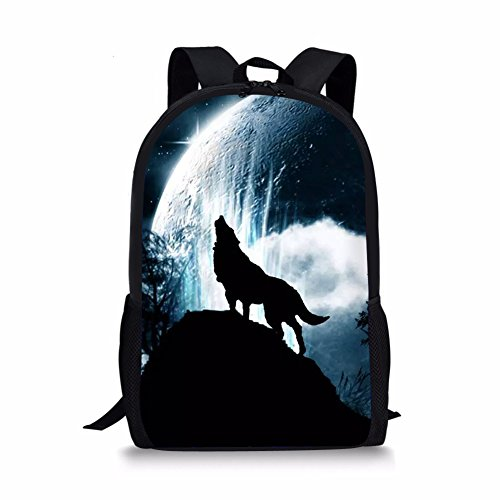 Showudesigns 17 inch Wolf School Bag for Teenager Boys Backpack for 6/7/8/9/10 Year Old Girls Elementary School Book Bag with Water Bottle Holder