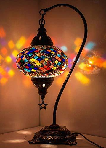 Impresionante hecho a mano turco marroquí mosaico de cristal colorido Boho mesa escritorio lámpara de noche lámpara de luz pantalla (multicolor)