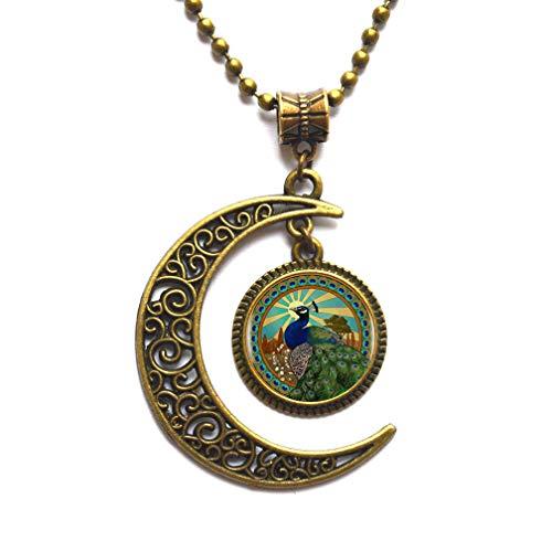 Collar con colgante de logotipo de pavo real hecho a mano, collar redondo para mujer, joyería para hombres, accesorios de vestir, PU250