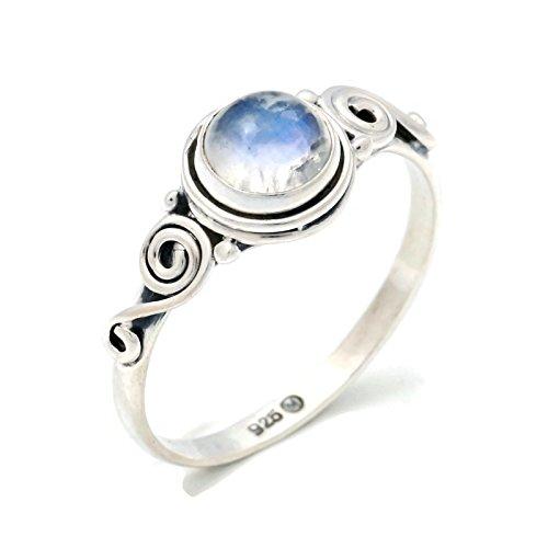 Anillo de plata de ley 925 Piedra de luna (No: MRI 115)