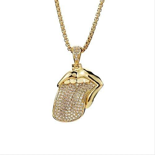 NC190 Collar con Colgante de Lengua de circón, Collar con Colgante de circón Chapado en Oro de Hip-Hop para Hombres y Mujeres, joyería de Moda para Amantes
