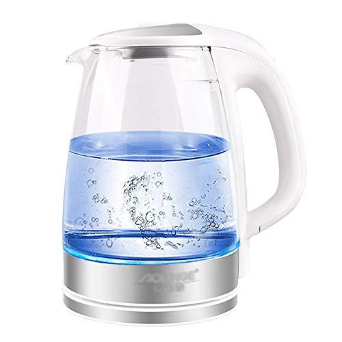 Zfggd Base en Acier Inoxydable avec théière en Verre Base en Acier Inoxydable avec théière LED Bleue, Bouilloire Rapide avec bouillotte avec thé
