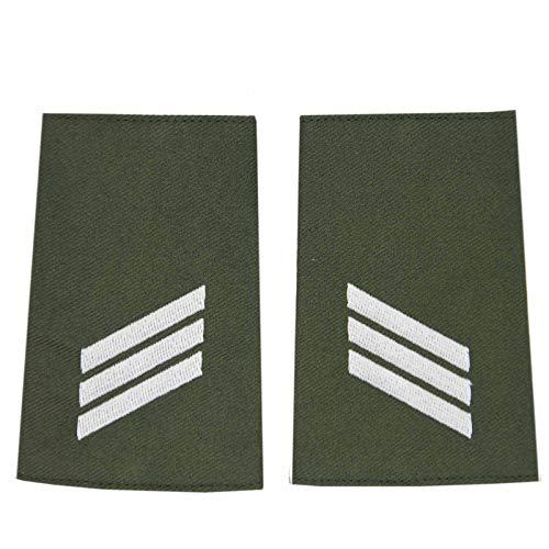 baum-m gmbh Rangschlaufen für Schulterklappen für die Deutsche Bundeswehr Heer oliv mit weißem Stick Hauptgefreiter