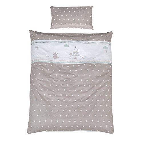 roba Bettwäsche 2-tlg, Kollektion 'Indibär', Kinderbettwäsche 100x135 cm, 100% Baumwolle, Decken-& Kissenbezug für Babys & Kinder mit aufwändiger Applikation