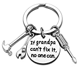 Grandpa Keychain Granddad Gifts From Grandson Granddaughter Christmas Gift Keyring Father's Day Gift For Grandpa (If grandpa can't fix it, no one can)